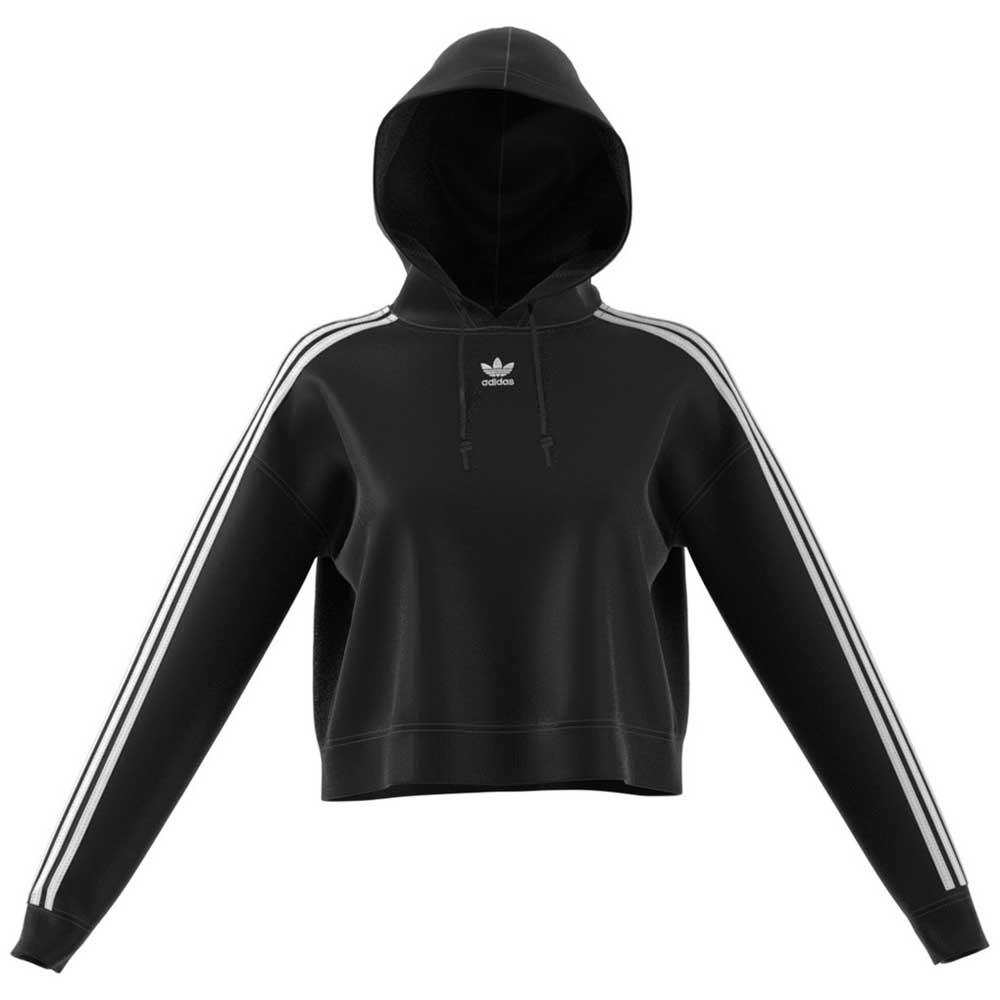 adidas Trefoil Black Crop Hoodie